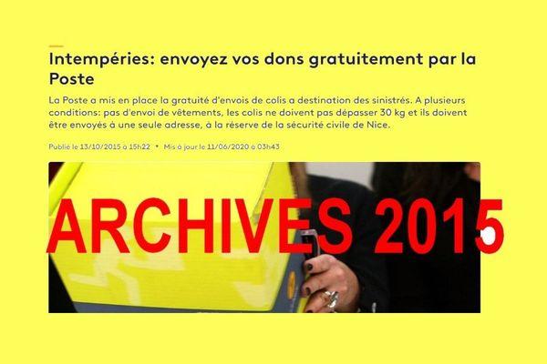 NON La Poste ne propose pas d'envoyez vos dons gratuitement aux sinistrés des Alpes-Maritimes.