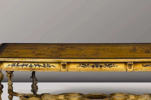 Table de salle à manger Herbes potagères, vers 1891-1892 Noyer, bois fruitier, nacre - 76,2 x 243,8 x 120 cm