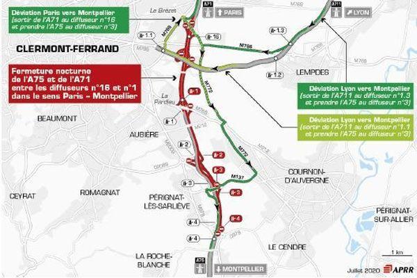 Une déviation est mise en place dans le sens Lyon vers Montpellier.