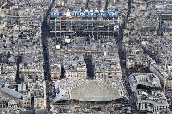 La canopée du Forum des Halles vue du ciel, le 11 janvier 2015