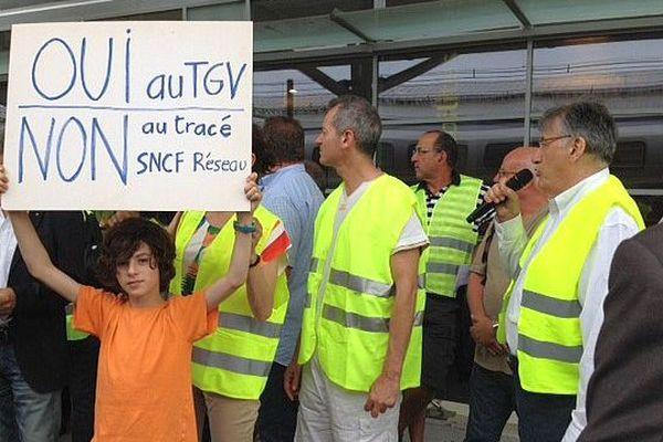 Perpignan - manifestation contre le tracé de la future LGV dans les Pyrénées-Orientales - 15 juin 2015.