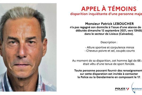 Patrick Leboucher est porté disparu depuis le 12 septembre.