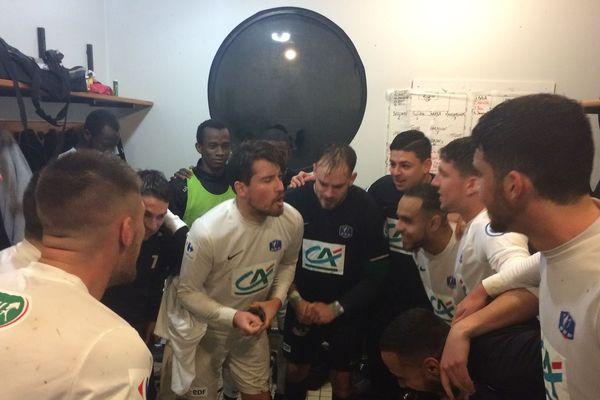 Le 11 novembre, les joueurs de l'AS Yzeure (Allier) savourent leur victoire contre le Clermont Foot.
