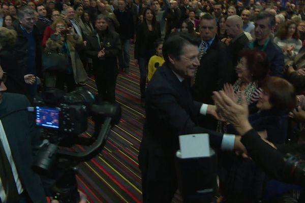 Le maire de Nice Christian Estrosi en 2020 lors d'un meeting de campagne avant le premier tour.