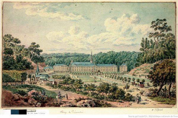 Dessin de l'abbaye de Prémontré par Tavernier de Jonquières daté du XVIIIe siècle.