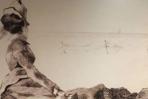 Femme assise sur un rocher de Félix Hulot, 1874