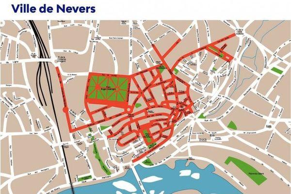 Les rues de Nevers où le port du masque est obligatoire
