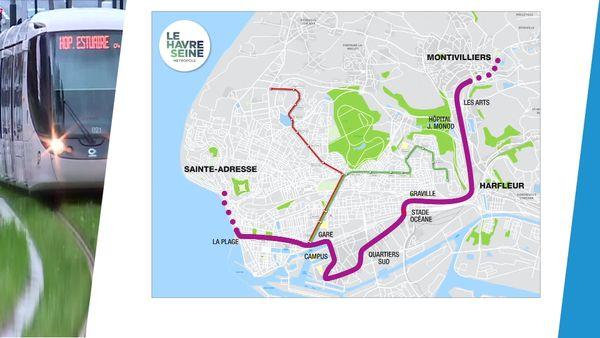 Le tracé de la future ligne du tramway dans la métropole havraise.
