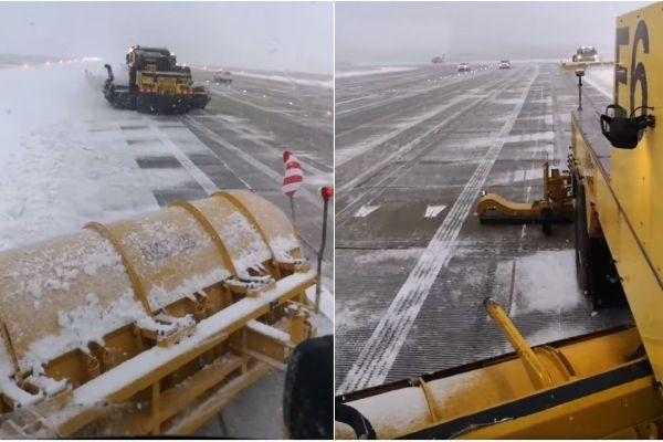 Les déneigeuses en action sur la piste de l'aéroport de Genève