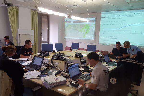 La cellule de crise à la préfecture de Toulon  ce jeudi matin.
