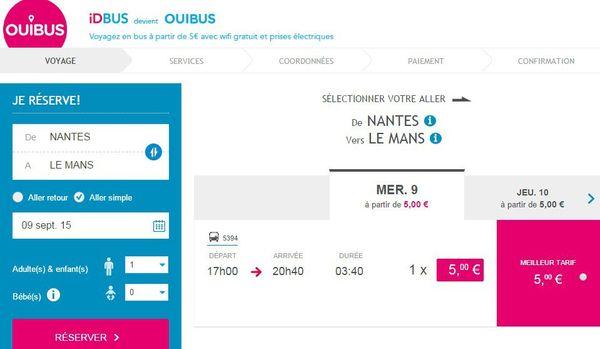 Copie d'écran du site web Ouibus pour un trajet Nantes Le Mans à 5 euros