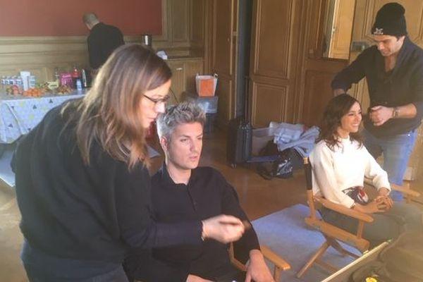 Les coulisses de l'émission : Jean-Baptiste Boursier et Elise Chassaing au maquillage.