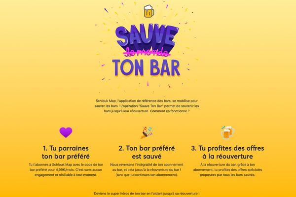 """Schlouk Map, l'application de référence des bars, se mobilise pour sauver les bars avec l'opération """"Sauve ton bar""""."""