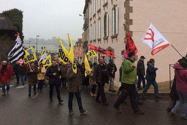 Les manifestants ont défilé dans les rues de Plouhinec (Finistère) contre la fermeture du lycée Jean-Moulin - 20/01/2018