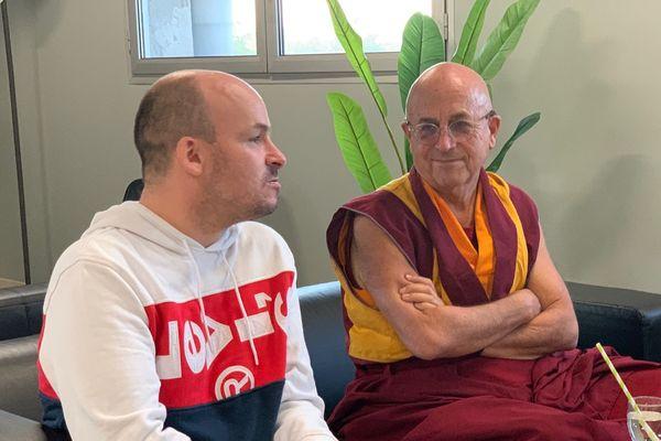 Les deux philosophes au Palio de Boulazac, quelques minutes avant leur conférence.