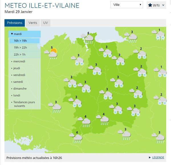 Bulletin de 16h du mardi 29 janvier 2019, carte Ille-et-Vilaine -