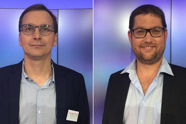 Les deux têtes de liste qualifiées pour le second tour des Municipales 2020 à Saint-Egrève :  Laurent Amadieu (DVG) et Benjamin Coiffard (DVC).