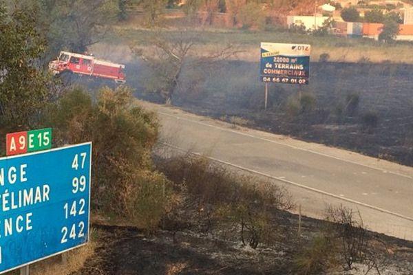 1 hectare de végétation est partie en fumée aux abords de l'A9 - 19 août 2017