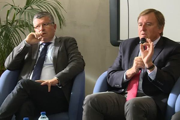 Y.Lachaud président de Nîmes Métropole et F.Proust, l'euro-député unis pour la la construction de la gare de Manduel