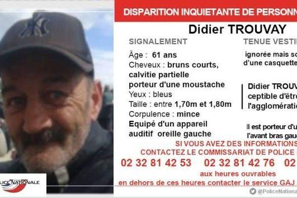 Publication disparition inquiétante Didier Trouvay dans la région de Rouen.