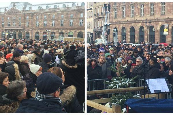 Plusieurs milliers de personnes place Kléber pour la cérémonie hommage aux victimes de l'attentat de Strasbourg