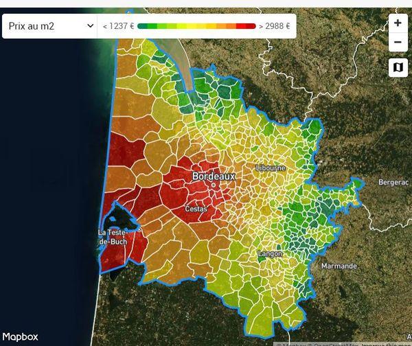 Les prix augmentent jusqu'à atteindre près de 3000 euros en moyenne le m2 en suivant un axe Bordeaux vers l'océan.