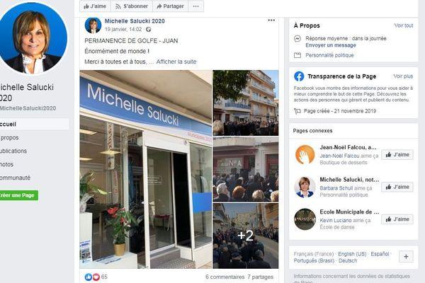 Facebook de Michelle Salucki maire sortante à Vallauris