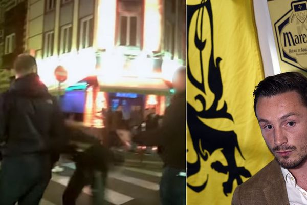 """À gauche, capture d'écran d'une séquence du film """"Génération Hate"""", dans laquelle un proche d'Aurélien Verhassel (à droite) tabasse une jeune femme rue Massena à Lille."""