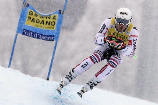 Johan Clarey pendant le Super G à Val d'Isère, le samedi 12 Decembre 2020.