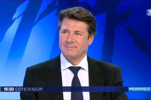 Christian Estrosi sur le plateau de France 3 Côte d'Azur.