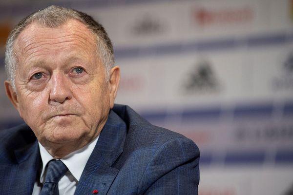 Jean-Michel Aulas, le président de l'Olympique Lyonnais, participe à une conférence de presse, mercredi 10 juin 2020, au lendemain de la décision du Conseil d'Etat validant l'arrêt du championnat de football de Ligue 1 pour la saison 2019-2020.