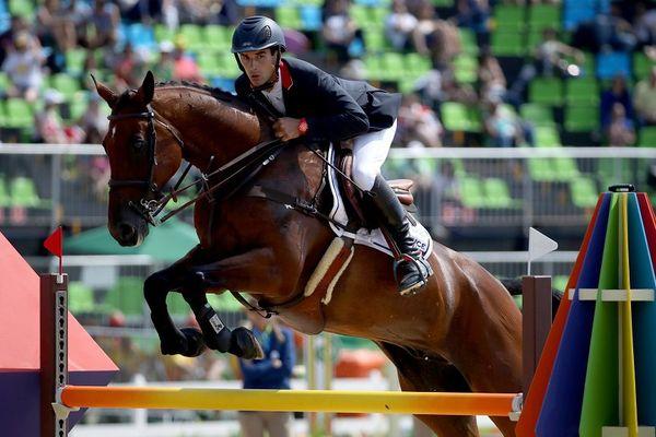 Astier Nicolas et son cheval Piaf de B'neville à Rio, le 9 août 2016.