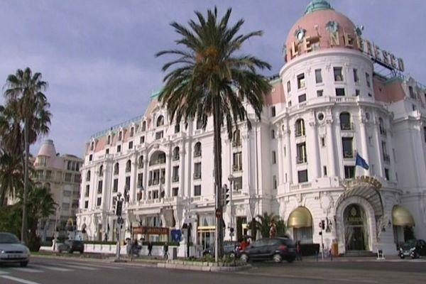 La façade du Negresco, situé sur la promenade des Anglais à Nice.