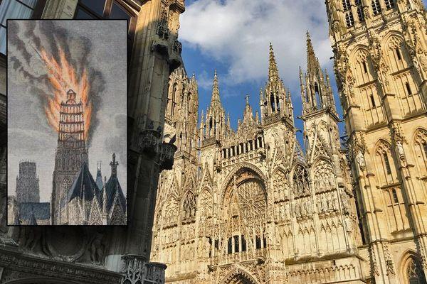 La façade de la cathédrale de Rouen  et une gravure représentant l'incendie de la flèche en 1822