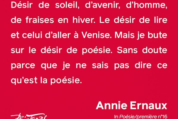 Annie Ernaux, In poésie/ première n°16