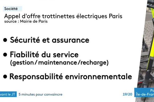 Les critères de l'appel d'offres aux opérateurs de location de trottinette électrique.