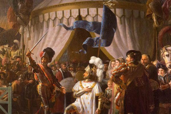 Représentation de Francois Ier et le chevalier Bayard à la bataille de Marignan.