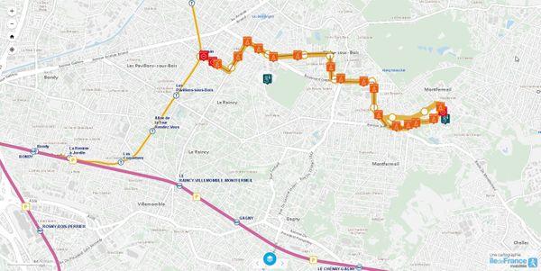 Carte de la nouvelle branche du Tram T4