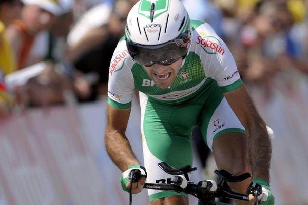 Maxime Médérel dans la 100ème édition du Tour de France ( Contre la montre, Avranches-Le Mont Saint-Michel, 10 juillet 2013)