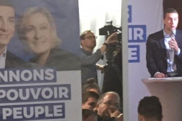 Jordan Bardella lors d'une réunion publique à Bobigny, le 8 mai 2019 à Bobigny.