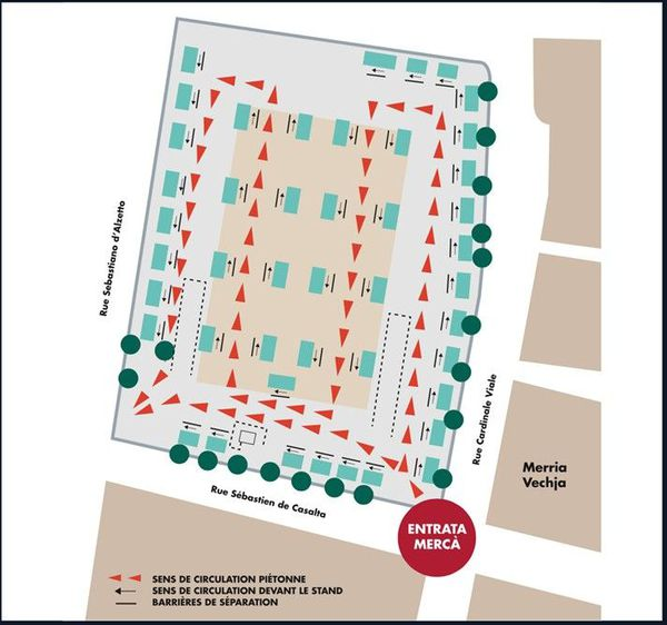 Le plan de circulation du marché de Bastia à compter du samedi 16 mai.