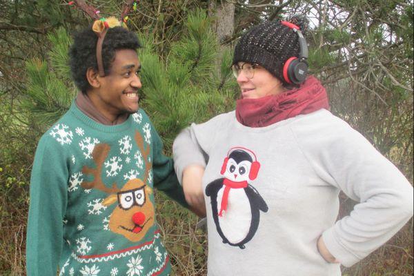 Participants au 1er concours du pull de Noël dans le Grand Nancy catégorie Famille.