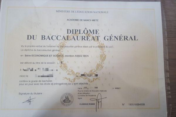 Bac 2018 obtenu dans l'académie de Nancy-Metz