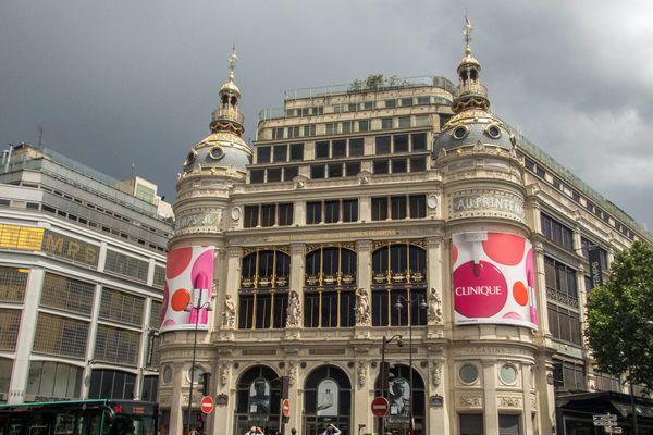 Les grands magasins Printemps Haussmann à Paris.