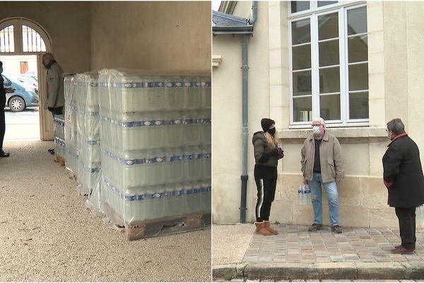 <p>La distribution d'eau en bouteilles se met en place à Hermonville dans la Marne.&nbsp;</p>