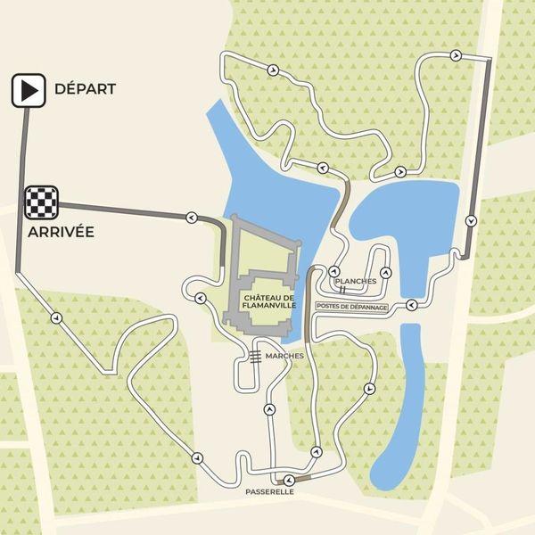 Le parcours des Championnats de France de Cyclo-cross 2020, s'étale sur 3 030 mètres au sein du parc du château de Flamanville, avec un dénivelé positif de 70m.