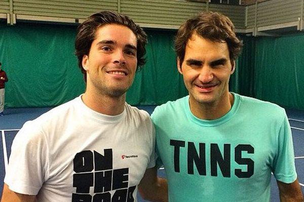Jules Marie et Roger Federer à Londres. Photo publiée par le tennisman caennais sur son compte Instagram
