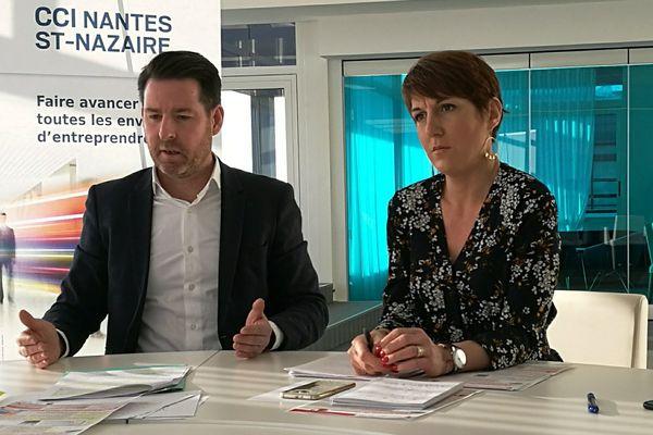 Hughes Frioux, vice-président de la CCI de Nantes et Nathalie Deniau-Millon, présidente de l'association Plein Centre