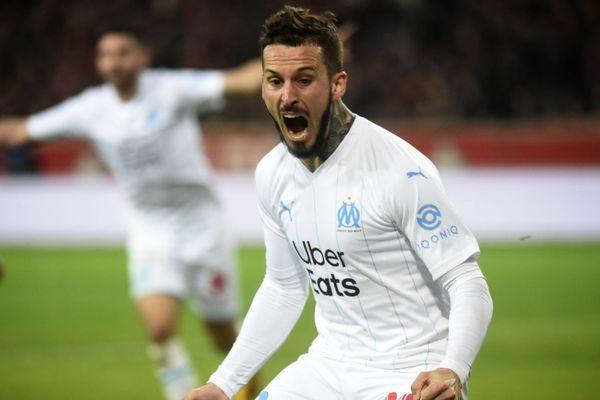 16/02/2020. Le joueur marseillais Dario Benedetto célèbre son but dimanche soir, face à Lille.