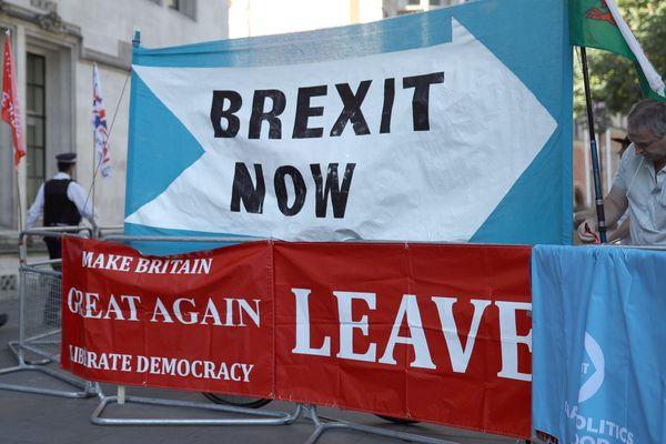 Affiches pro-Brexit à Londres.